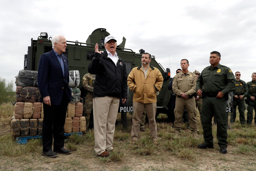 Texas Sens. John Cornyn (left) and Ted Cruz (third from left) joined President Donald Trump this month on a tour of the U.S.-Mexico border