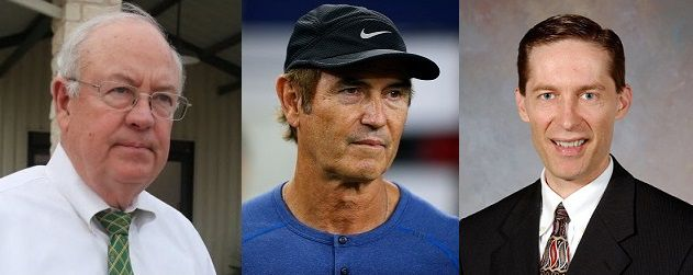 From left, former university president Ken Starr, football coach Art Briles and athletic director Ian McCaw all departed amid the scandal.