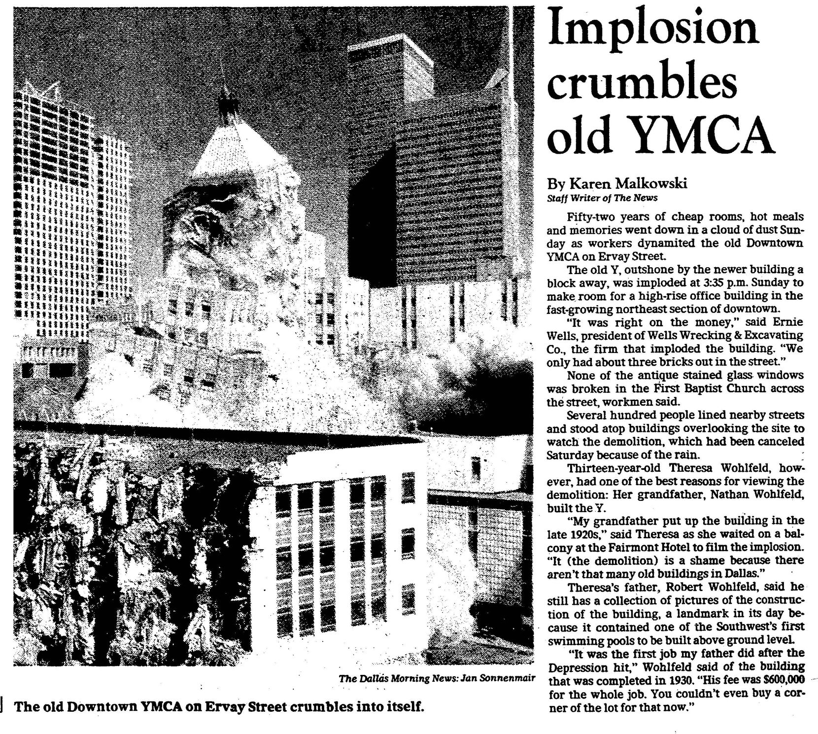 """Implosion crumbles old YMCA,"" published on March 29, 1982."