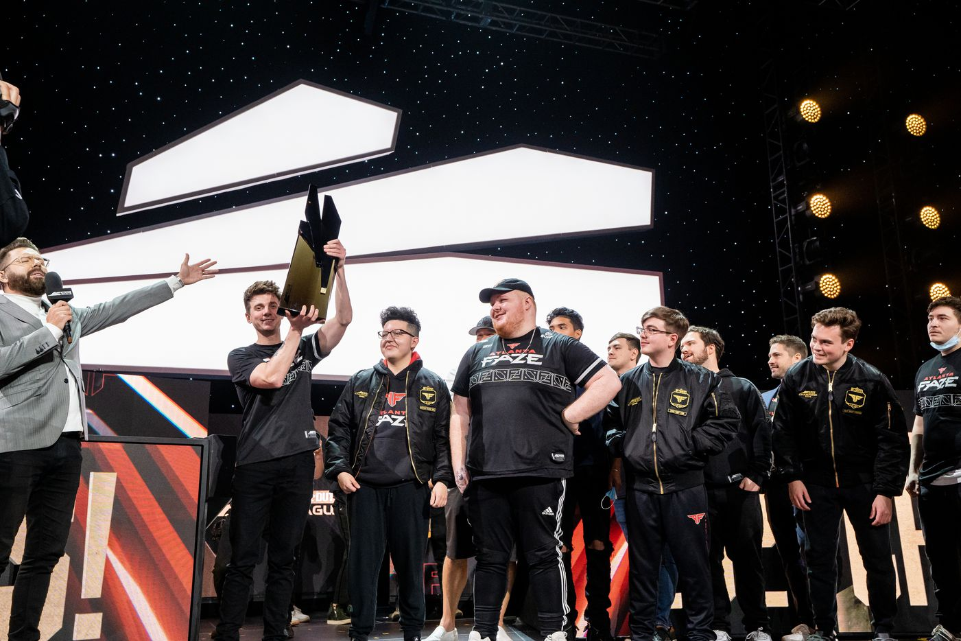 The Atlanta FaZe hold the Call of Duty league championship trophy at the Galen Center on Sunday, August 22, 2021 in Los Angeles, California. The Atlanta FaZe beat the Toronto Ultra 5 - 3. (Justin L. Stewart/Special Contributor)