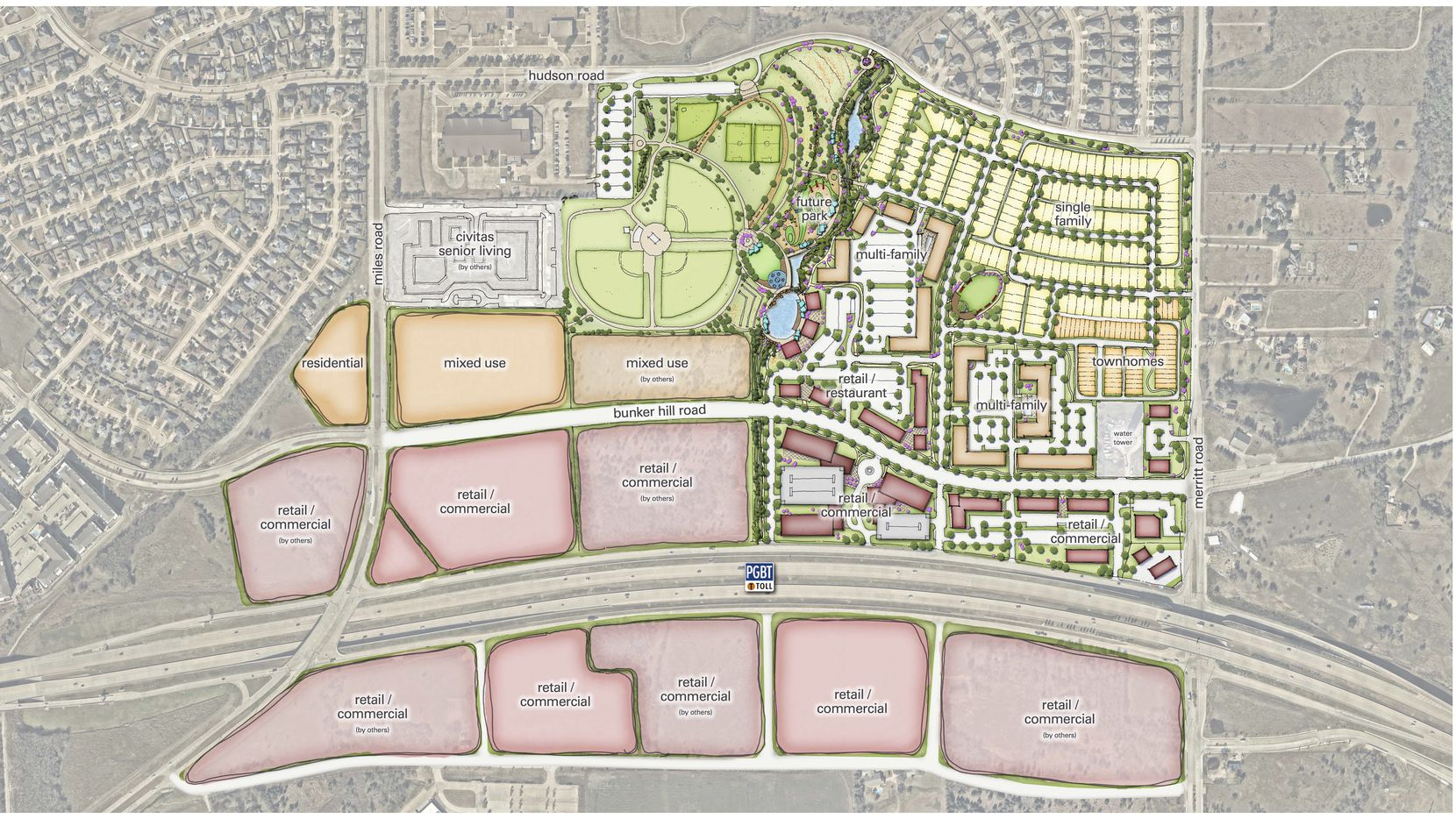The 119-acre Station development in Sachse is planned for both sides of the Bush Turnpike.