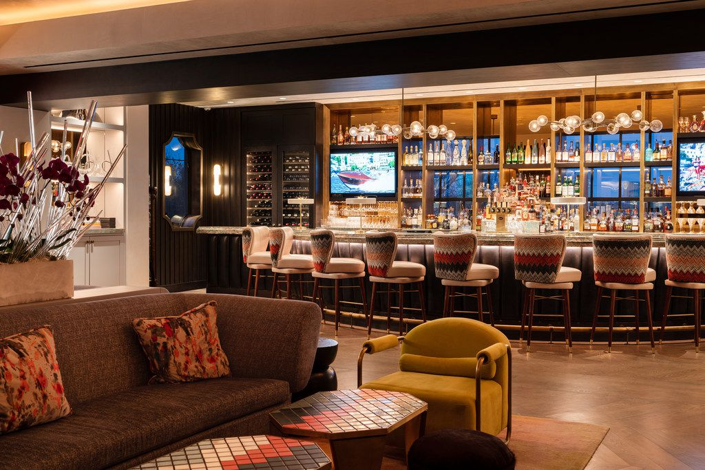 The living room and main bar in the Park House, a private social club that opened in Highland Park Village in late December 2018.
