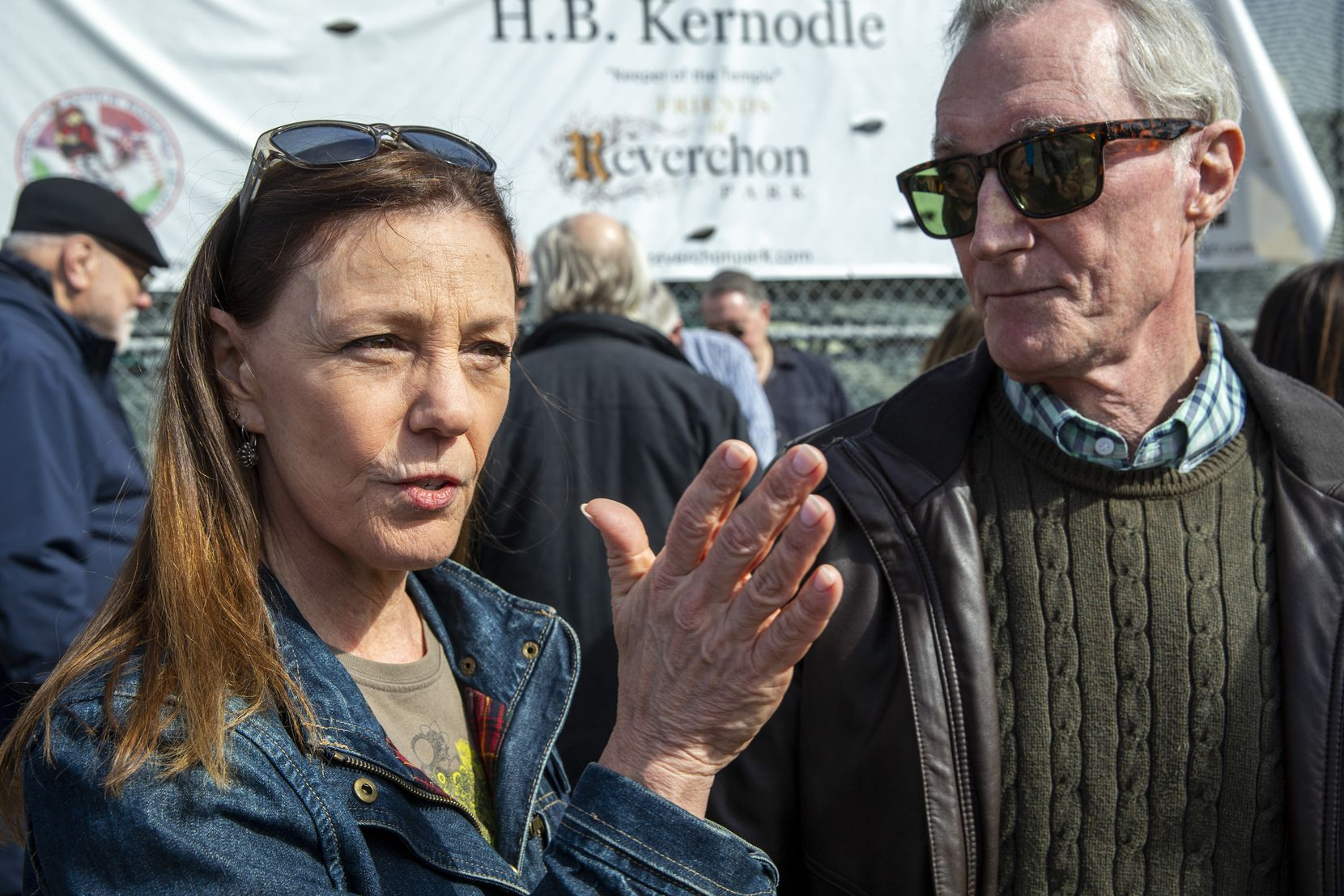 Charlotte (left) and Robert Barner talk about the potential ramifications of a privately developed baseball field during a press conference at Reverchon Park in the Oak Lawn area of Dallas on Friday. The Barners filed a lawsuit against the City of Dallas for allowing a private developer to build a baseball stadium in the park without seeking community input.