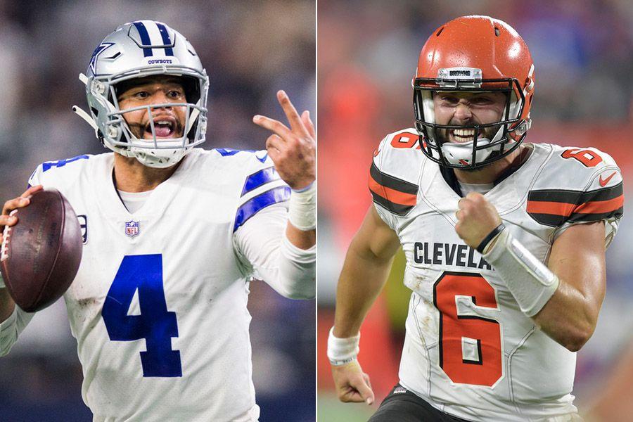Pictured: Dallas Cowboys quarterback Dak Prescott (left) and Cleveland Browns quarterback Baker Mayfield.