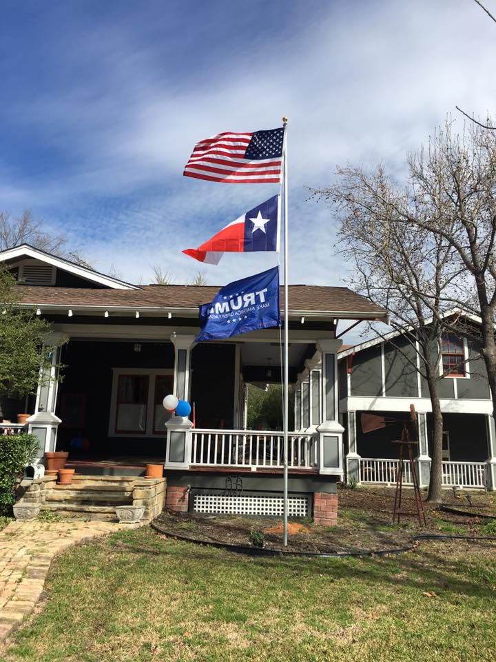 This photo from Kimberly Loyd's Facebook page shows a Trump flag waving in the wind underneath U.S. and Texas flags.