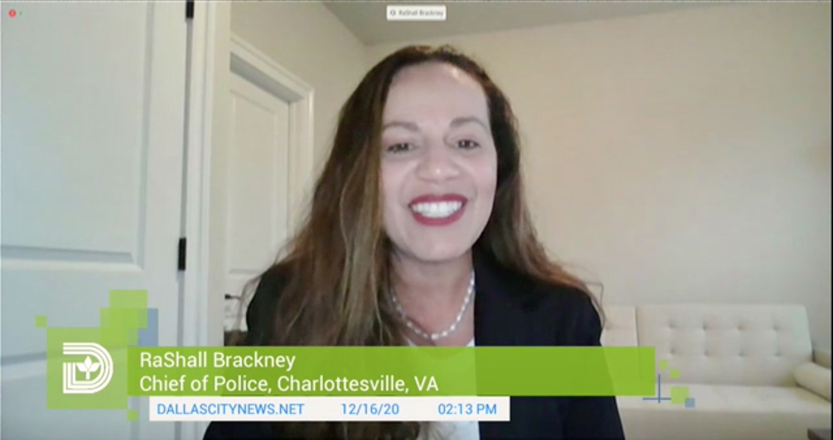 Dallas police chief candidate RaShall Brackney, chief of police in Charlottesville, Va. (City of Dallas video)
