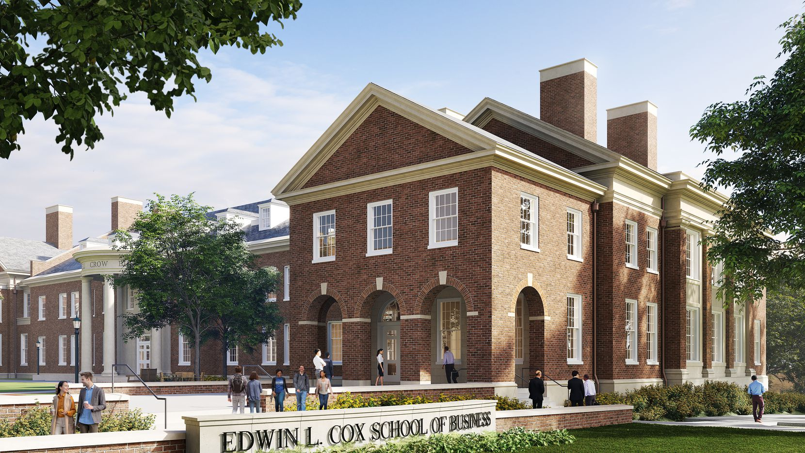 The newest expansion to Southern Methodist University's Cox School of Business, Bryan S. Sheffield Hall, is shown in this rendering. The hall is named after SMU alumnus Bryan Sheffield, who with his wife Sharoll, donated $15 million to the school.