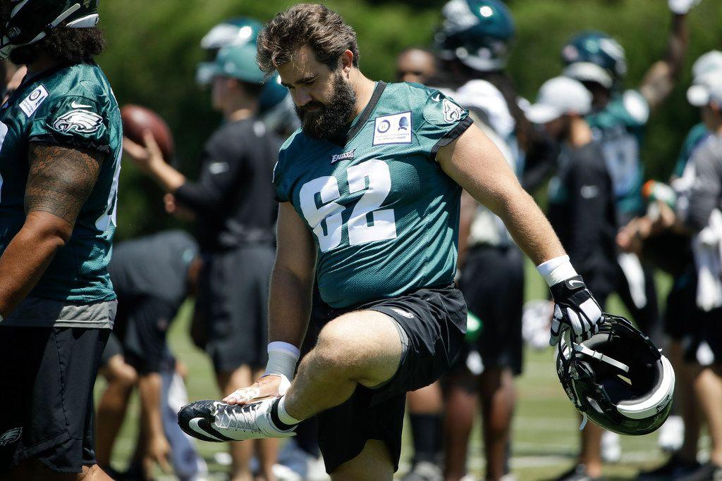Philadelphia Eagles center Jason Kelce stretches at the NFL football team's practice facility in Philadelphia, Tuesday, June 11, 2019. (AP Photo/Matt Rourke)