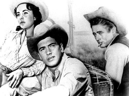 Giant,  starred (left to right) Elizabeth Taylor, Rock Hudson and James Dean.