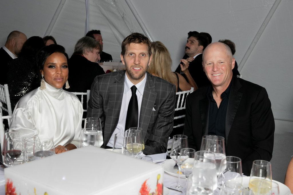 Jessica Nowitzki, Dirk Nowitzki and Will Rose at the TWOxTWO for AIDS and Art event at the Rachofsky House on Saturday, Oct. 27, 2018.