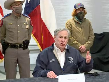 "Gov. Greg Abbott, shown at a press conference Wednesday, has been defending fossil fuel use. But his statements on Fox News Tuesday night that appeared to affix blame for Texas' electricity outages on wind and solar have drawn fire as inaccurate, part of ""not useful"" messaging on the current weather crisis, communications experts said Wednesday."