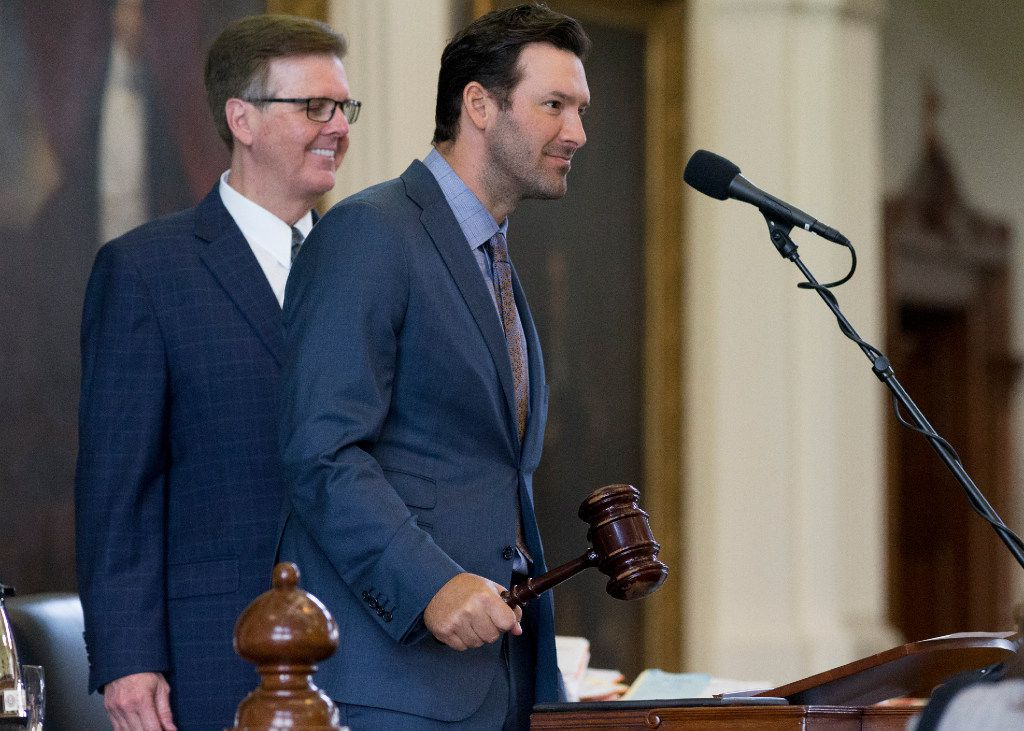 Former Dallas Cowboys quarterback Tony Romo bangs the gavel to bring the Senate back into sesson -- along with Lt. Gov. Dan Patrick -- at the Texas Capitol in Austin, Wednesday, May 3, 2017.