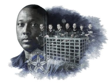 DPD lead SWAT negotiator Sr. Cpl. Larry Gordon and officers photographed by Smiley N. Pool in a photo illustration by Michael Hogue.