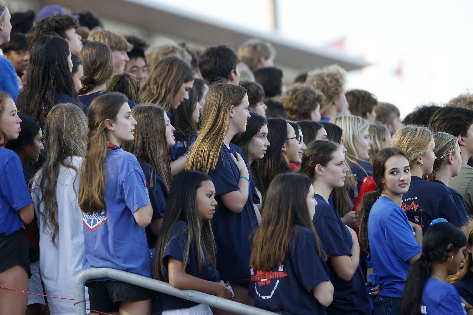 The Grapevine student section as they played Colleyville Heritage during the first half of their high school football game in Grapevine, Texas on Aug. 27, 2021. (Michael Ainsworth/Special Contributor)