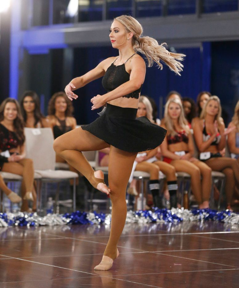 Erin of Fort Worth dances during the individual talent portion of tryouts for the Dallas Cowboys Cheerleaders.
