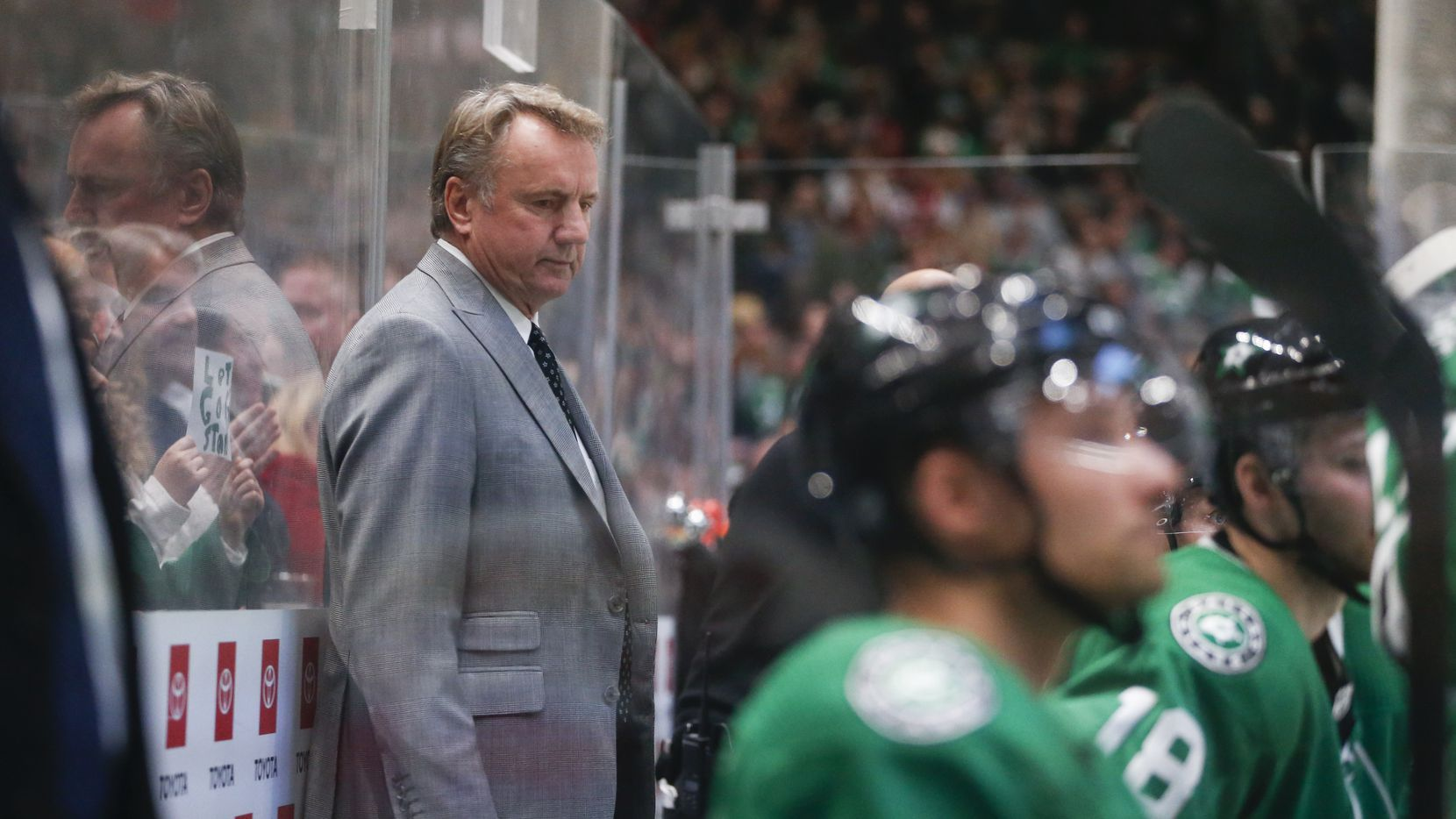 Dallas Stars interim head coach Rick Bowness is seen during the second period of a National Hockey League match between the Dallas Stars and the New Jersey Devils on Tuesday, Dec. 10, 2019 at American Airlines Center in Dallas.
