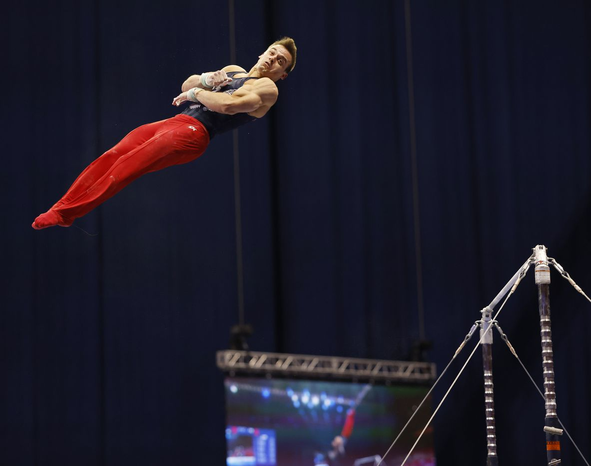 Sam Mikulak competes in the high bar during day 2 of the men's 2021 U.S. Olympic Trials at America's Center on Saturday, June 26, 2021 in St Louis, Missouri.(Vernon Bryant/The Dallas Morning News)