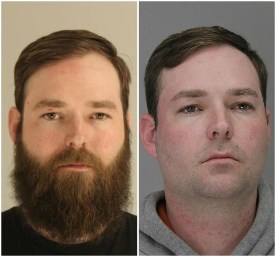 Austin Shuffield was first arrested March 21 (left) on the original misdemeanor charges. A week later, he was clean-shaven for his re-arrest on a weapons charge.