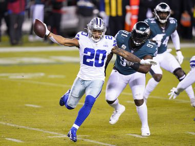 Dallas Cowboys' Tony Pollard plays during the first half of an NFL football game against the Philadelphia Eagles, Sunday, Nov. 1, 2020, in Philadelphia.