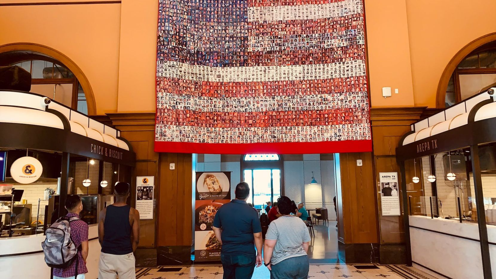 A quilt commemorating 9/11 victims hangs in Harvest Hall this month.