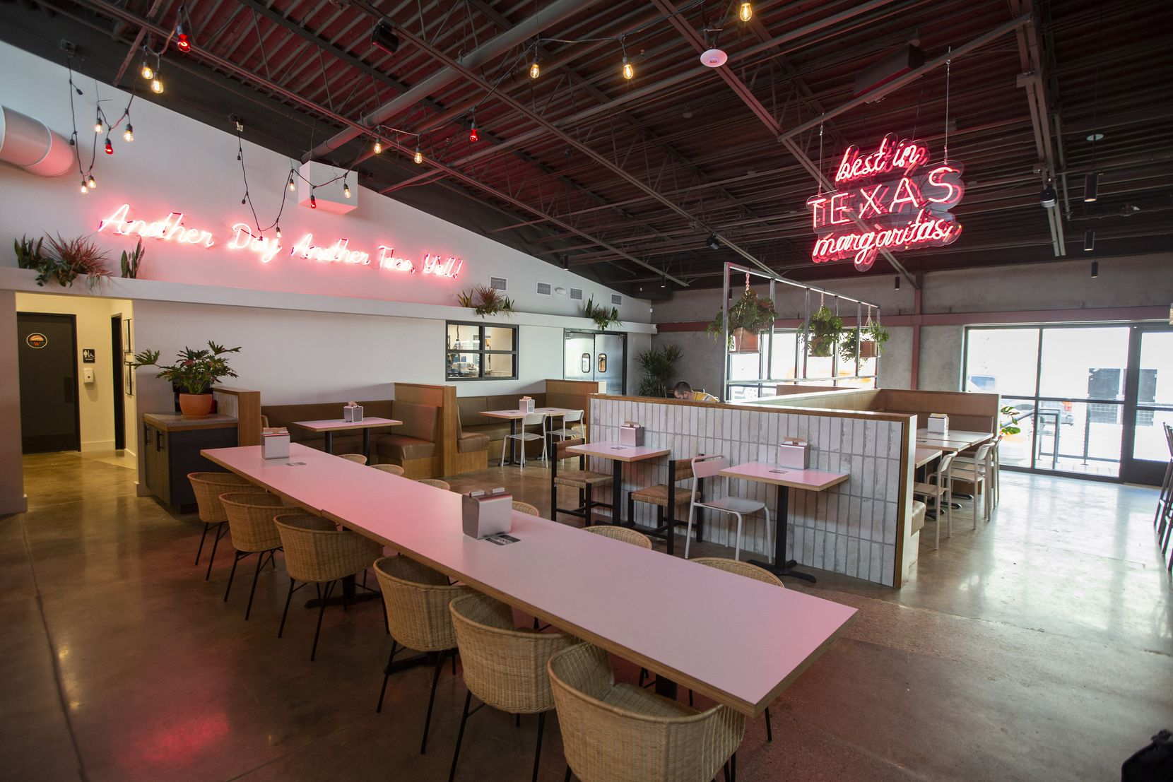 Indoor dining area at Taco Heads in Fort Worth