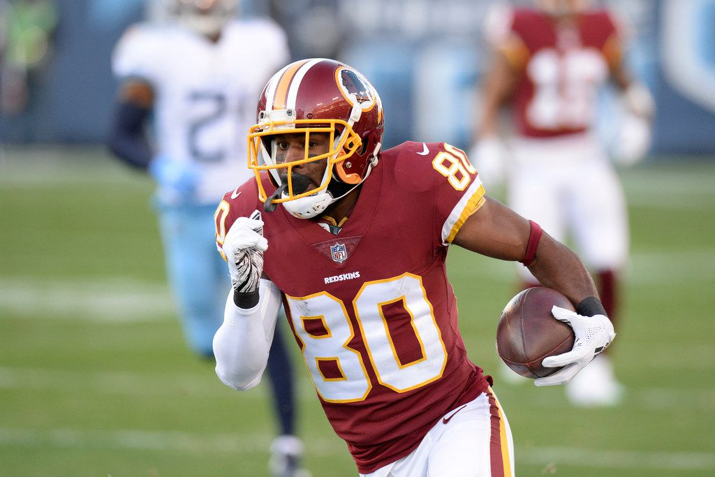 FILE - Washington Redskins wide receiver Jamison Crowder (80) plays against the Tennessee Titans in the first half of an NFL football game Saturday, Dec. 22, 2018, in Nashville, Tenn. (AP Photo/Mark Zaleski)