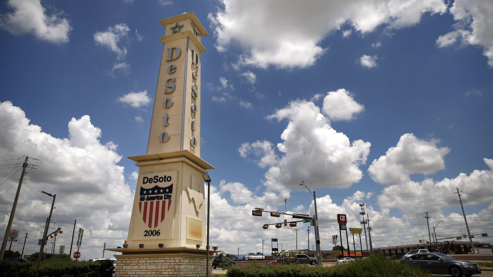 A large obelisk greets people to the City of Desoto, Texas at the intersection of E. Pleasant Run Rd. and Interstate 35E, Wednesday, June 24, 2020.