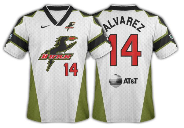 1996 Dallas Burn white with wasabi highlights and horse logo secondary.