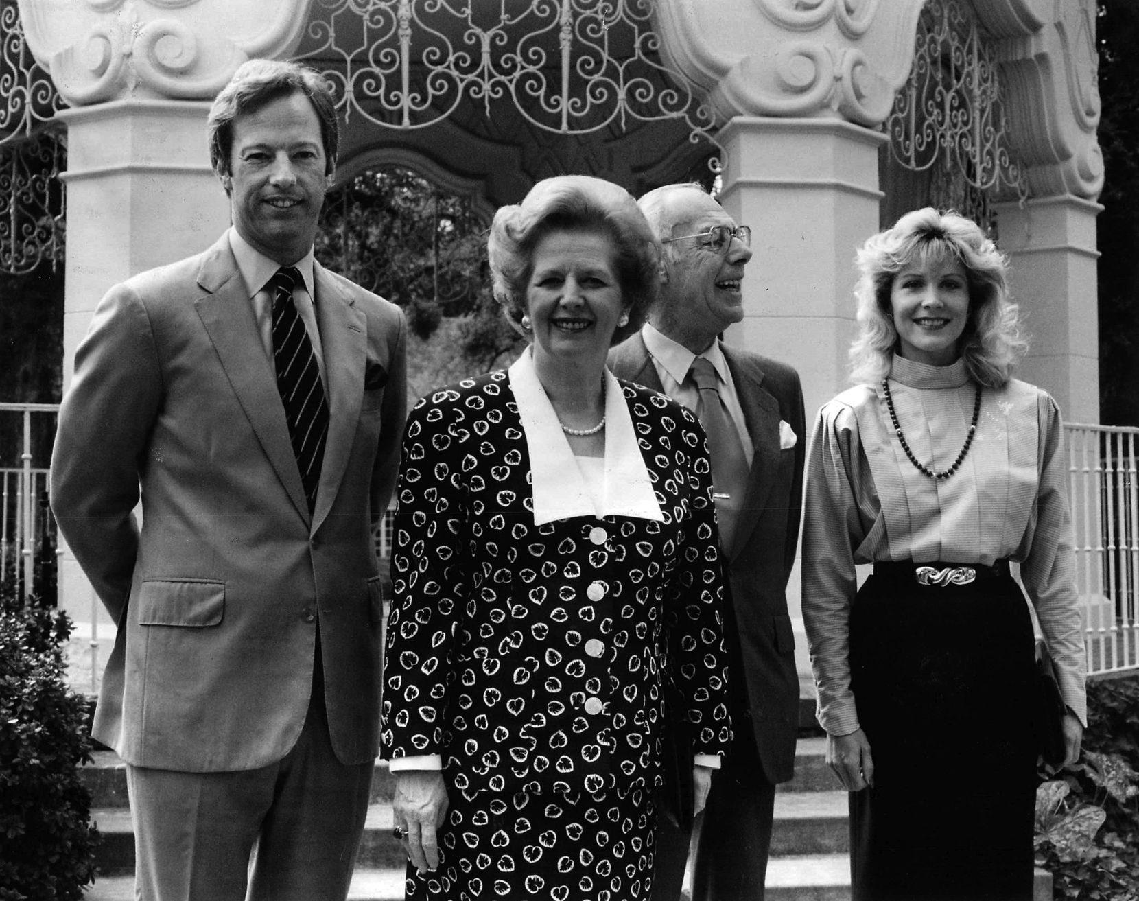 British Prime Minister Margaret Thatcher and her husband, Denis, visit Flippen Park in Highland Park in 1987 with their son, Mark, and his wife, Diane.