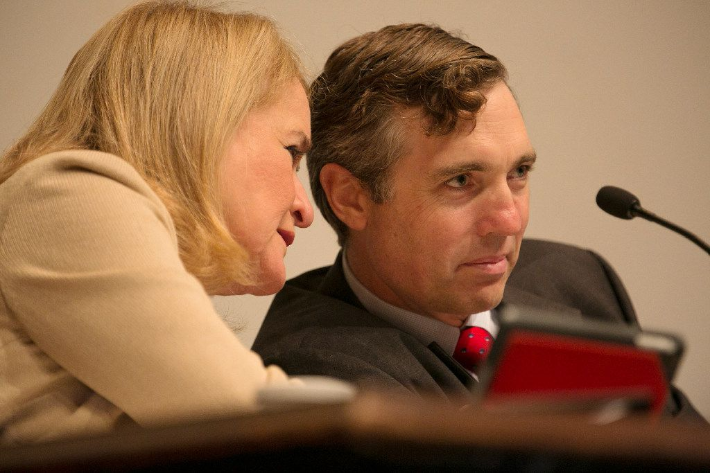 Democratic Sen. Sylvia Garcia, left, speaks with Van Taylor at the Senate Select Committee on Government Reform as they discuss property tax relief 2017 during the special session of the legislature. Both Garcia and Taylor are now in Congress.
