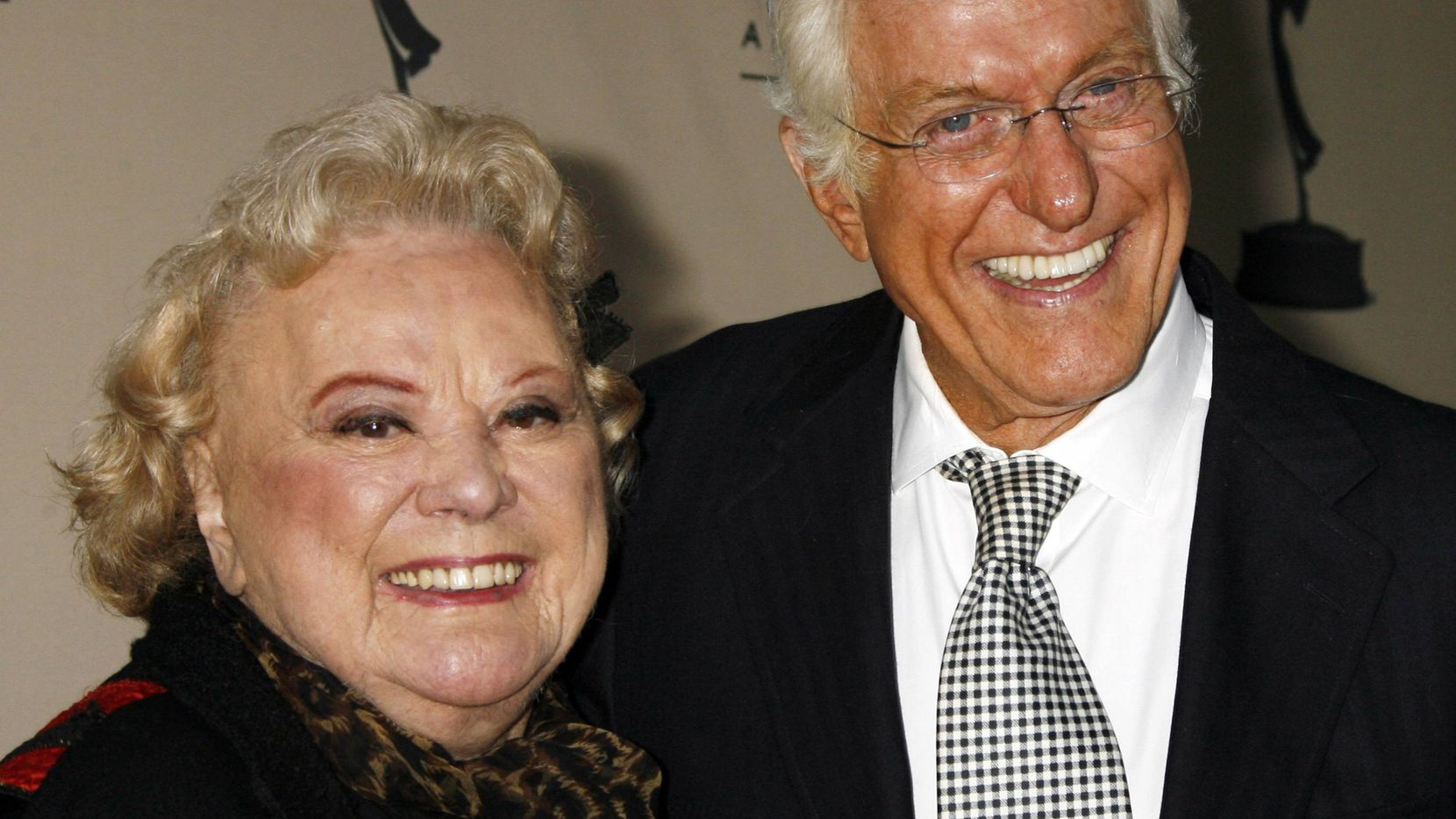 ORG XMIT: *S0418131267* Actors Rose Marie (L) and Dick Van Dyke, who starred in the 1960's television comedy series 'The Dick Van Dyke Show,' pose as they arrive for '60 Years A Restrospective of the Television and The Television Academy' at the Academy of Television Arts & Sciences in Los Angeles October 12, 2006. REUTERS/Fred Prouser   (UNITED STATES)
