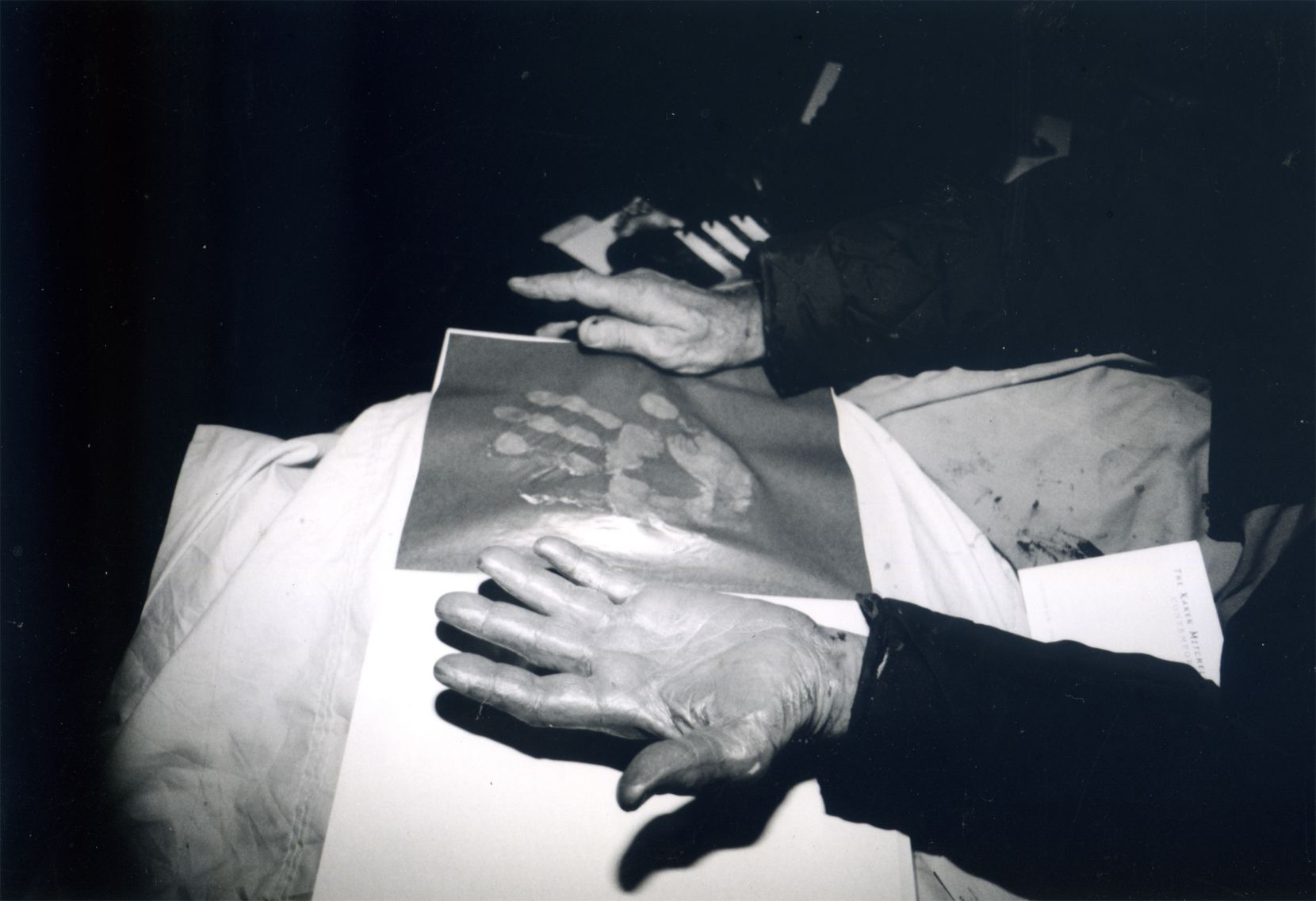 Peter Beard's hand and handprint, seen during the exhibit of his works at the Boyd Gallery in Dallas in 2000.