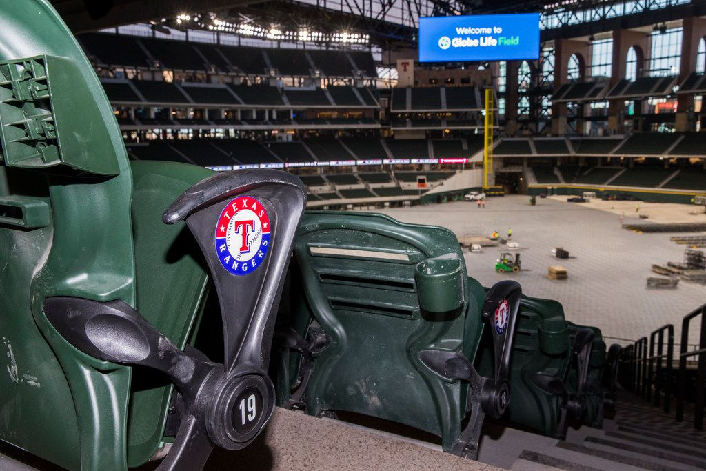 Seats have the Texas Rangers logo inside the new Globe Life Field on Wednesday, March 11, 2020 in Arlington.