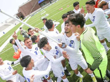 Grand Prairie players celebrate their 1-0 win against Sam Houston in a Class 6A Region I semifinal soccer game at McKinney ISD Stadium in McKinney, Texas on Friday, April 12, 2019. (Shaban Athuman/Staff Photographer)