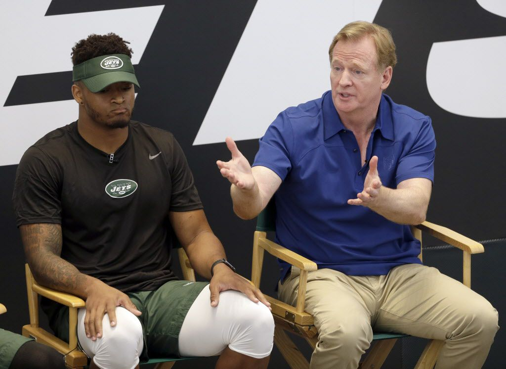 New York Jets Jamal Adams and NFL commissioner Roger Goodell take questions from fans as part a of fan forum during a NFL football training camp in Florham Park, N.J., Monday, July 31, 2017. (AP Photo/Seth Wenig)