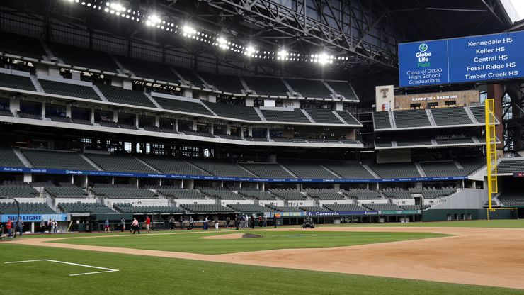 The newly completed Globe Life Field in Arlington, Texas, is getting ready to host several high school graduations, Wednesday, May 20 2020.