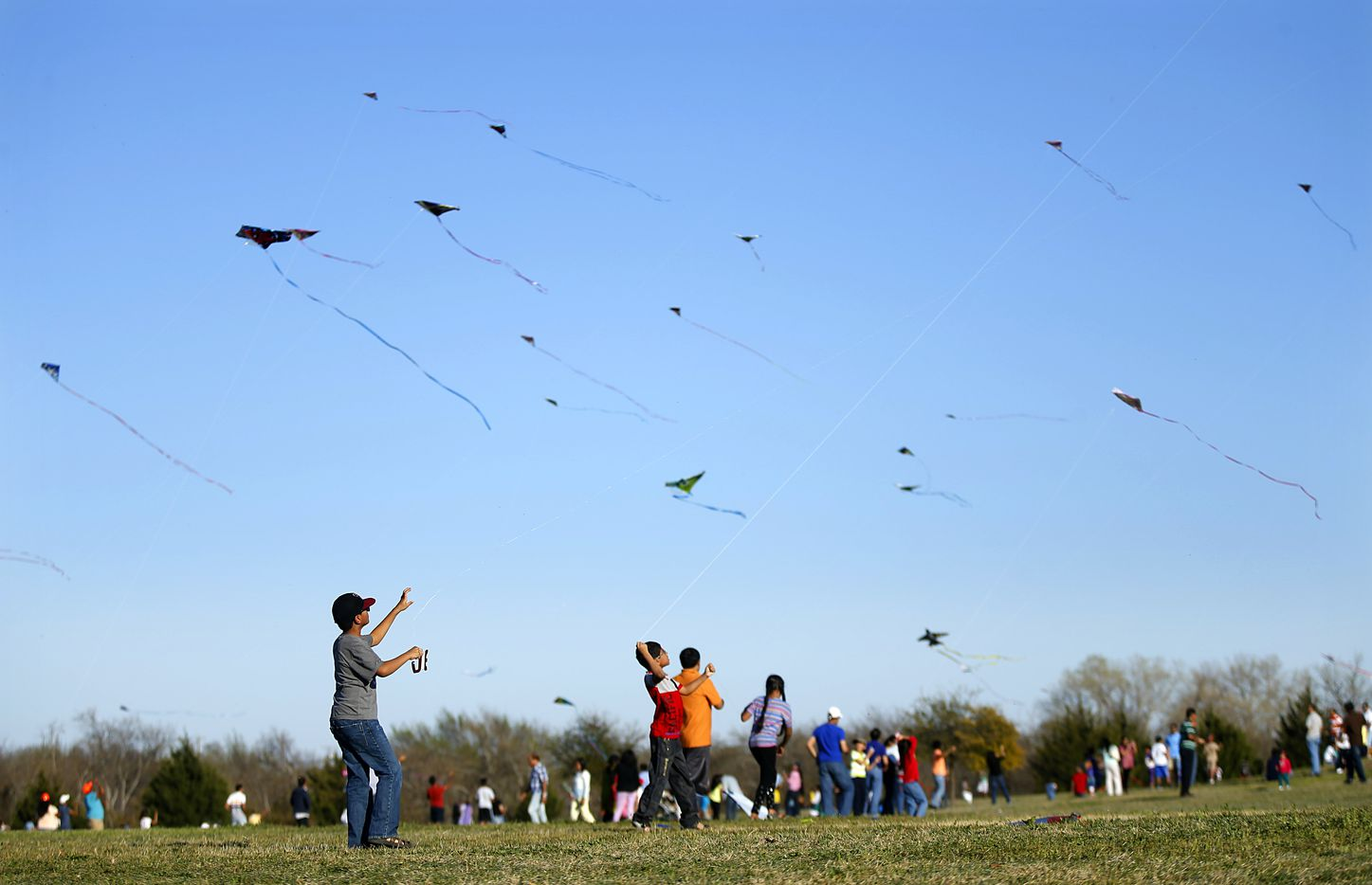 Kites take flight at the 11th annual Kite Flying Festival sponsored by Texas Instruments at Frisco Commons Park in Frisco in March 2014.