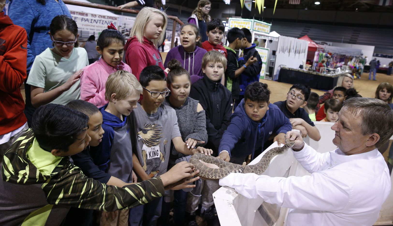 Dennis Cumbie allows children from Sweetwater Intermediate school to touch a live snake before milking it at Nolan County Coliseum Sweetwater Rattlesnake Roundup in Sweetwater on March 10, 2017. (Nathan Hunsinger/The Dallas Morning News)