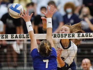 Flower Mound outside hitter Angelique Cyr hits a shot past Trophy Club Byron Nelson's Nina Petersen (7) during Flower Mound's 21-25, 25-20, 25-21, 25-20 victory in a Class 6A Region I semifinal Tuesday at Prosper. (Stewart F. House/Special Contributor)