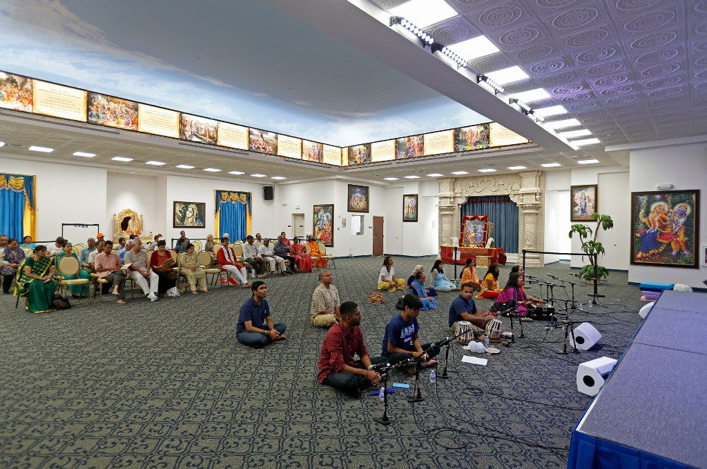 People gather in the prayer hall at Radha Krishna Temple of Dallas in Allen, Texas, Tuesday, July 4, 2017.  (Jae S. Lee/The Dallas Morning News)