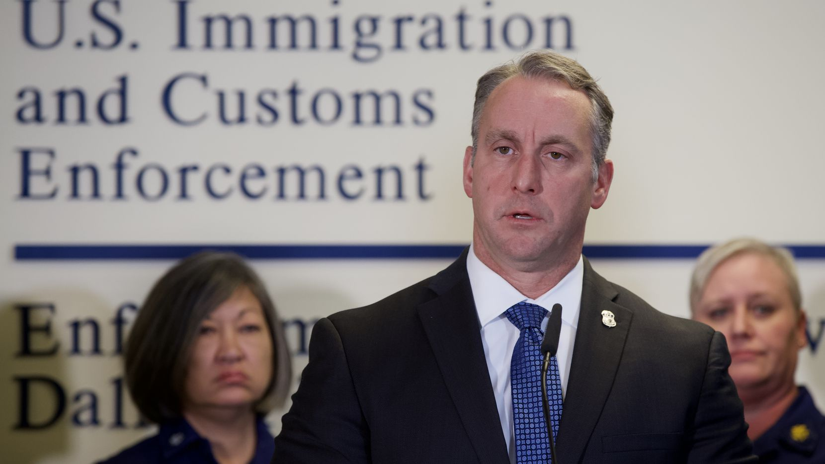 Acting ICE Director Matthew T. Albence announces new enforcement statistics for the nation during a news conference held at the U.S. Immigration and Customs Dallas Field Office. Albence said that the Dallas regional office leads the nation in apprehensions.