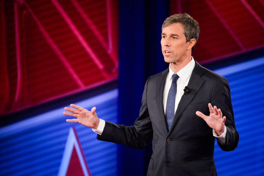 Democratic presidential candidate Beto O'Rourke takes part in a live CNN Town Hall from Drake University in Des Moines, Iowa, on May 21, 2019. CNN Town Hall with Beto O'Rouke in Des Moines, IA