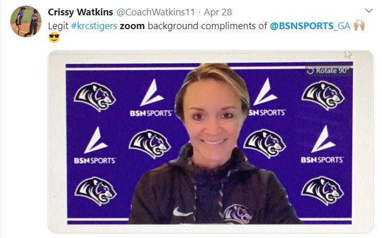 Crissy Watkins, director of women's athletics at Kings Ridge Christian School in Alpharetta, Ga., tweets her thanks for her custom Zoom background.
