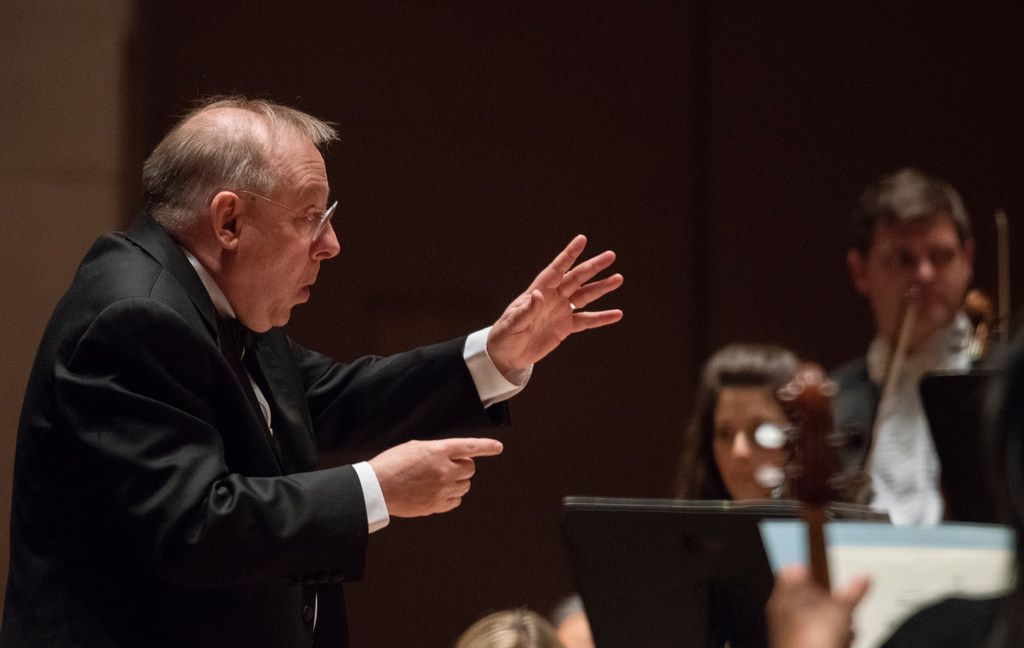 Nicholas McGegan conducts the Dallas Symphony Orchestra on Thursday, April 12, 2018.