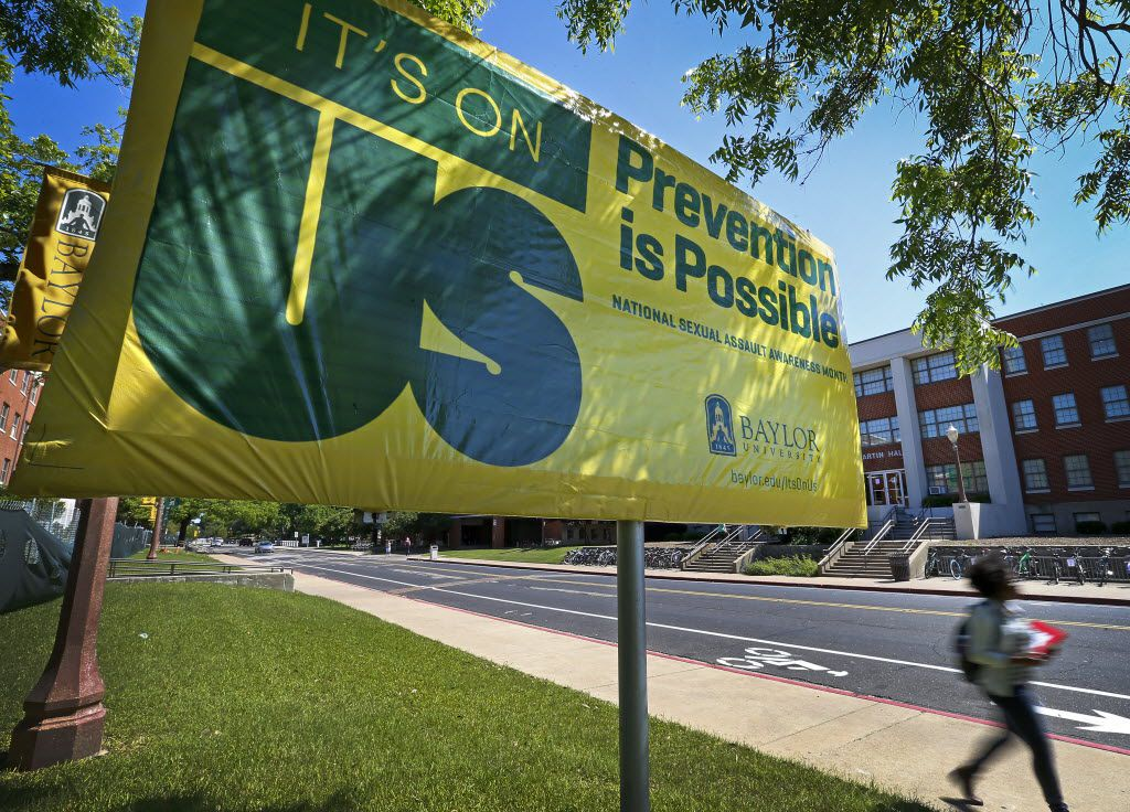 """An """"It's On Us"""" campaign sign is placed across Martin Residence Hall on the Baylor University campus in Waco, Texas, Tuesday, May 3, 2016. The words read: """"It's on us. Prevention is possible. National Sexual Assault Awareness Month. Baylor University.""""  (Jae S. Lee/The Dallas Morning News)"""