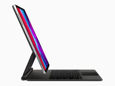 Apple's new Magic Keyboard for iPad Pro has a robust hinge that makes the iPad appear to float over the keys.