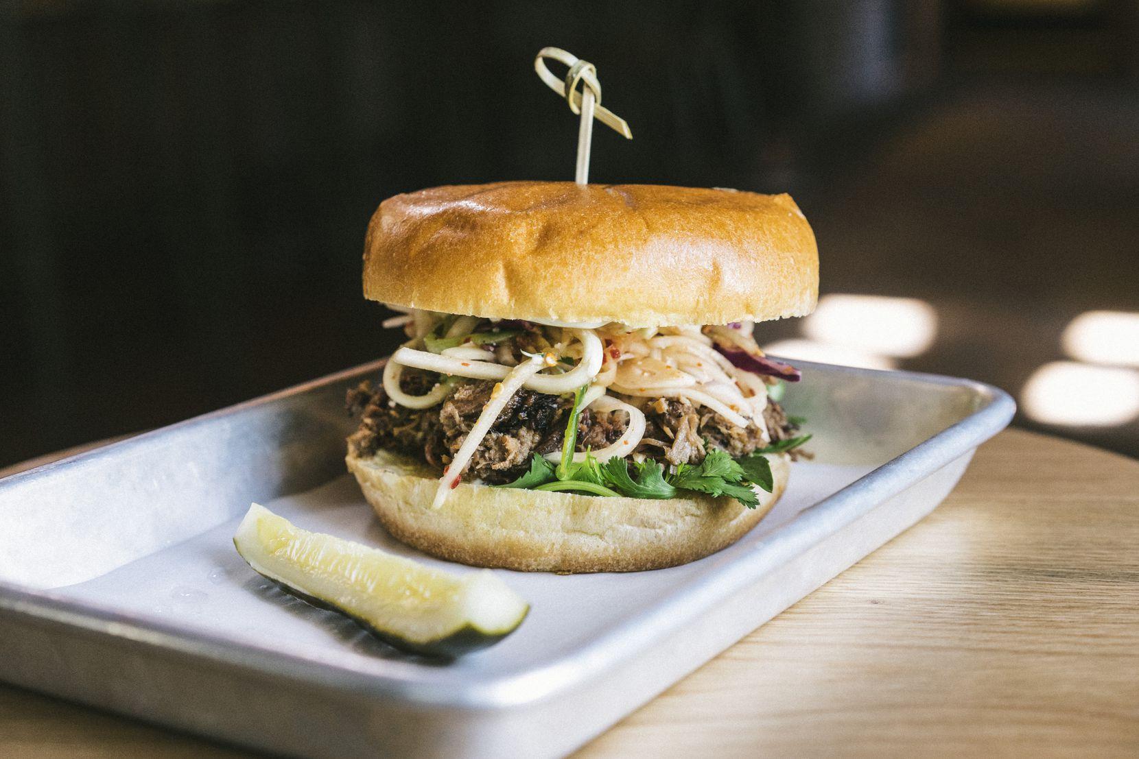 The brisket sandwich at LORO in Dallas