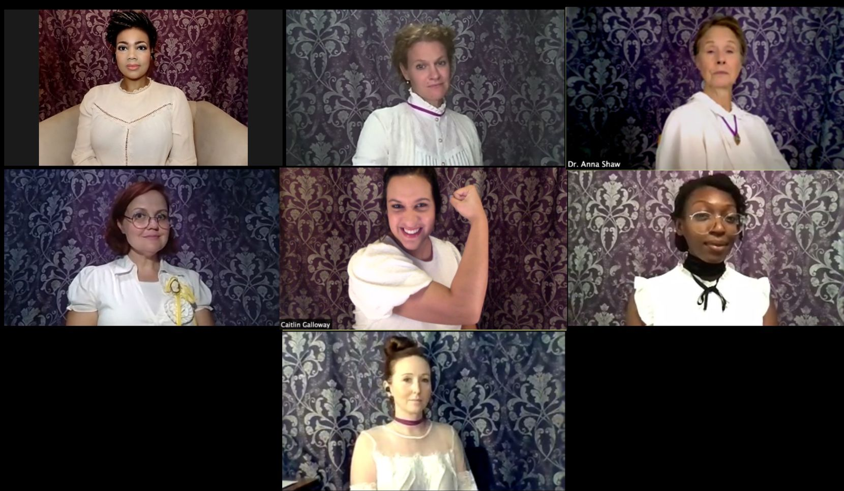Echo Theatre is streaming a virtual version of 'It's My Party' to celebrate the 100th anniversary of the 19th Amendment. The actresses from left to right, top row to bottom row, are: Octavia Y. Thomas, Megan Haratine, Cindee Mayfield, Lindsay Hayward, Caitlin Chapa, Bwalya Chisanga and Leslie Patrick.