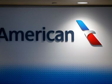 An American Airlines logo in the newly renovated Terminal  A at Dallas-Fort Worth International Airport, Thursday, January 25, 2017. The one million sq-feet terminal improvements have added more pace for security, dining and retail, as well as technology enhancements to make travel through the airport easier and enjoyable according to an airport statement. (Tom Fox/The Dallas Morning News)