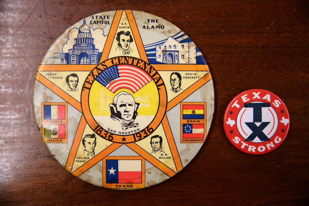 A large commemorative button from the Texas Centennial Exposition in 1936, with the 2017 Texas Strong button for contrast.